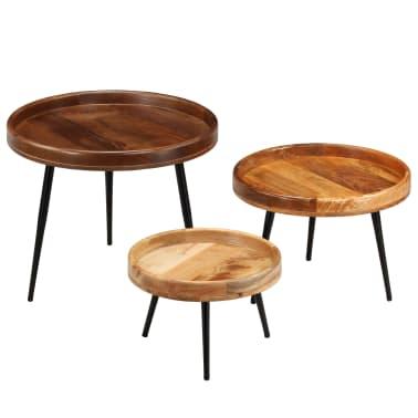 vidaXL 3d. staliukų komplektas, mango medienos masyvas ir plienas[17/17]