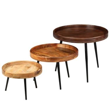vidaXL 3d. staliukų komplektas, mango medienos masyvas ir plienas[8/17]