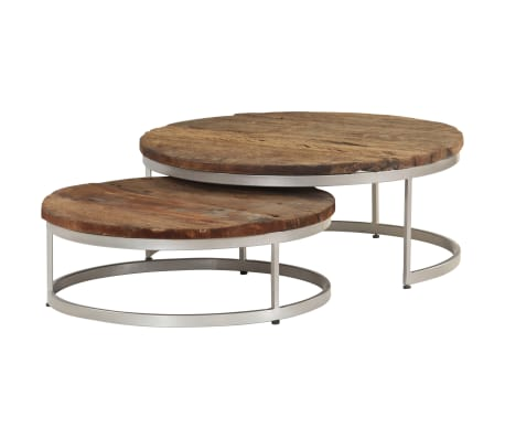 vidaXL Coffee Table Set 2 Pieces Reclaimed Wood and Steel