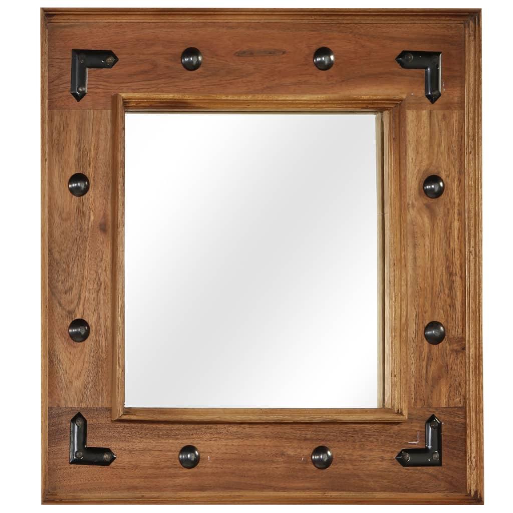 vidaXL Oglindă, lemn masiv de salcâm, 50 x 50 cm poza vidaxl.ro