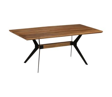 Vidaxl table de salle manger bois d 39 acacia et acier 180x90x76 cm - Table salle a manger bois acier ...