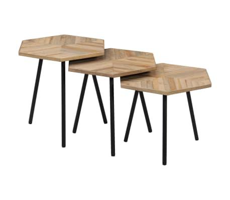 Détails sur vidaXL 3x Table Basse Hexagonal Teck Recyclé Salon Table  d\'Appoint Gigogne
