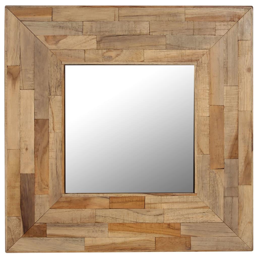 vidaXL Oglindă, 50 x 50 cm, lemn de tec reciclat poza vidaxl.ro