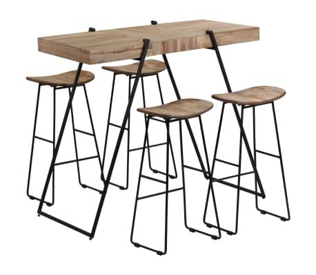 vidaXL 5 Piece Bar Set Reclaimed Teak[10/14]