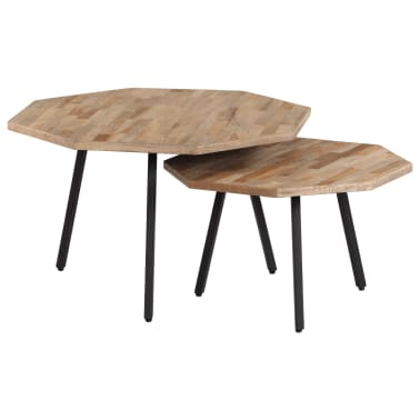 vidaXL Ensemble de table basse 2 pcs Hexagonal Teck recyclé ...