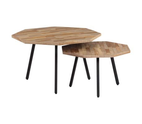 Vidaxl 2 Piece Coffee Table Set Hexagon Reclaimed Teak Vidaxl Ie