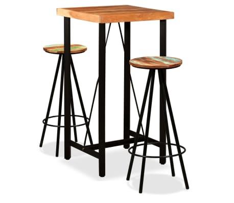 vidaXL Set de muebles de bar 3 piezas acacia y madera reciclada