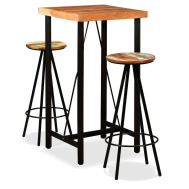 vidaXL Bar Set 3 Pieces Solid Sheesham and Reclaimed Wood[1/16]