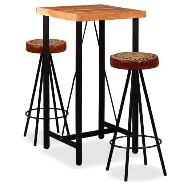 vidaXL Mesa y taburetes bar madera maciza sheesham cuero real y lona[1/16]