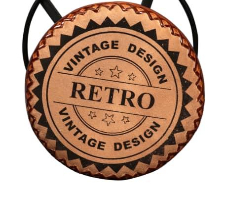 vidaXL Bar Set 3 Pieces Solid Sheesham Wood, Genuine Leather & Canvas[12/16]
