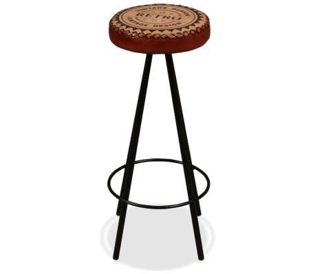 vidaXL Mesa y taburetes bar madera maciza sheesham cuero real y lona[13/16]