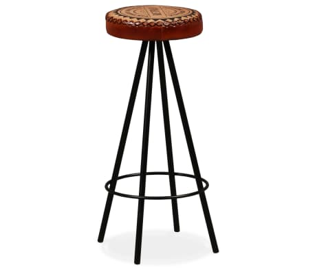 vidaXL Mesa y taburetes bar madera maciza sheesham cuero real y lona[14/16]