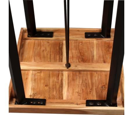 vidaXL Mesa y taburetes bar madera maciza sheesham cuero real y lona[6/16]