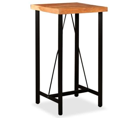 vidaXL Mesa y taburetes bar madera maciza sheesham cuero real y lona[8/16]