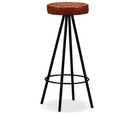 vidaXL Mesa y taburetes bar madera maciza sheesham cuero real y lona[10/16]