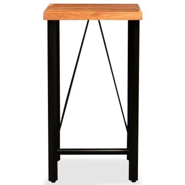 vidaXL Mesa y taburetes bar madera maciza sheesham cuero real y lona[3/16]