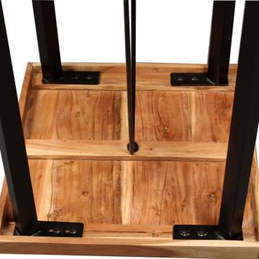 vidaXL Bar Set 3 Pieces Solid Sheesham Wood, Genuine Leather & Canvas[6/16]