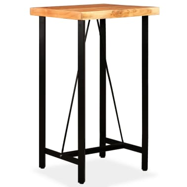 vidaXL Bar Set 3 Pieces Solid Sheesham Wood, Genuine Leather & Canvas[7/16]