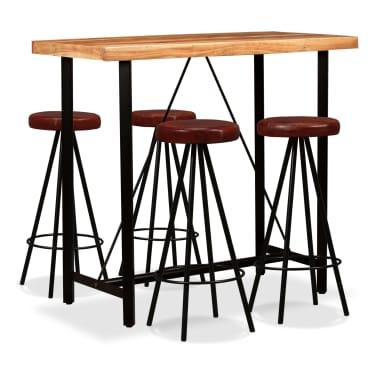 vidaXL 5 Piece Bar Set Solid Sheesham Wood and Genuine Leather[1/15]