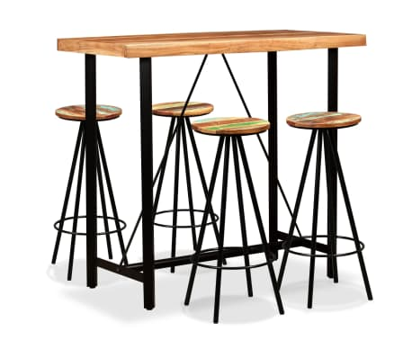 vidaXL Bar Set 5 Pieces Solid Sheesham and Reclaimed Wood[1/16]