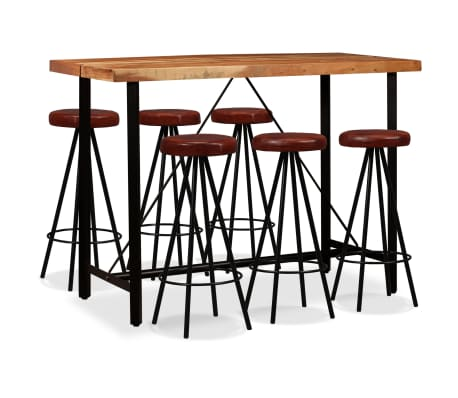 vidaXL Set muebles de bar 7 pzas madera maciza sheesham cuero genuino[1/14]