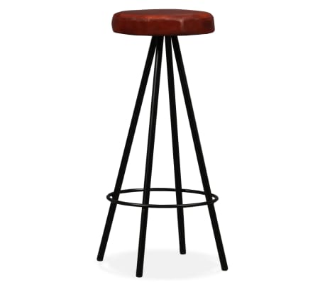 vidaXL Set muebles de bar 7 pzas madera maciza sheesham cuero genuino[8/14]