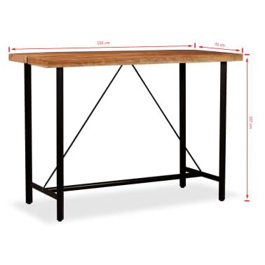 vidaXL Set muebles de bar 7 pzas madera maciza sheesham cuero genuino[13/14]