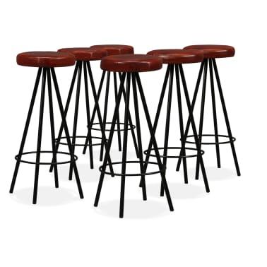 vidaXL Set muebles de bar 7 pzas madera maciza sheesham cuero genuino[7/14]