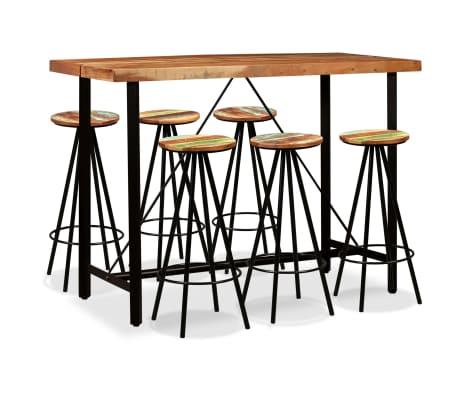 vidaXL Bar Set 7 Pieces Solid Sheesham and Reclaimed Wood[1/15]