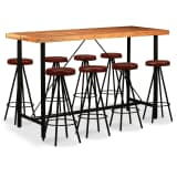 vidaXL 9 Piece Bar Set Solid Sheesham Wood and Genuine Leather