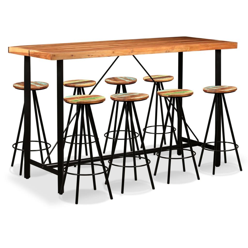 vidaXL Barový set 9 kusů masivní sheeshamové a recyklované dřevo