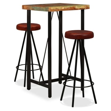 vidaXL Bar Set 3 Pieces Solid Reclaimed Wood and Genuine Leather[1/17]