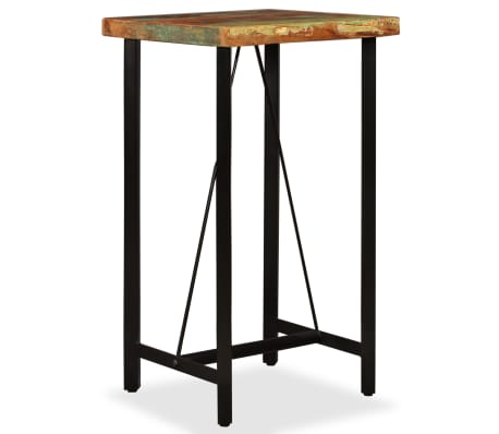 vidaXL Bar Set 3 Pieces Solid Reclaimed Wood and Genuine Leather[2/17]