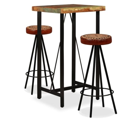 vidaXL Bar Set 3 Pieces Solid Reclaimed Wood, Genuine Leather & Canvas[1/18]