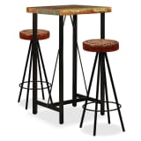 vidaXL Bar Set 3 Pieces Solid Reclaimed Wood, Genuine Leather & Canvas