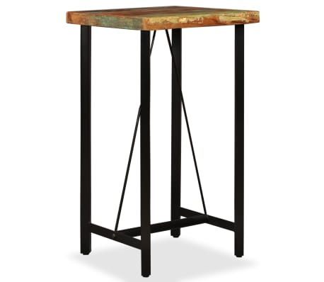 vidaXL Bar Set 3 Pieces Solid Reclaimed Wood, Genuine Leather & Canvas[2/18]