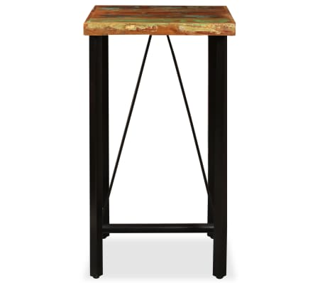 vidaXL Bar Set 3 Pieces Solid Reclaimed Wood, Genuine Leather & Canvas[3/18]
