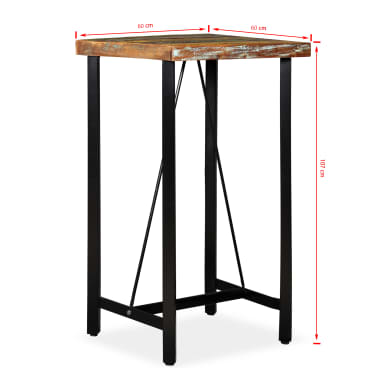 vidaXL Bar Set 3 Pieces Solid Reclaimed Wood, Genuine Leather & Canvas[17/18]