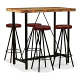 vidaXL Bar Set 5 Pieces Solid Reclaimed Wood and Genuine Leather
