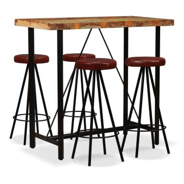 vidaXL Set muebles de bar 5 pzas madera maciza reciclada cuero genuino[1/16]