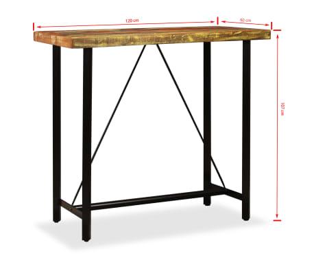 vidaXL Set muebles de bar 5 pzas madera maciza reciclada cuero genuino[15/16]