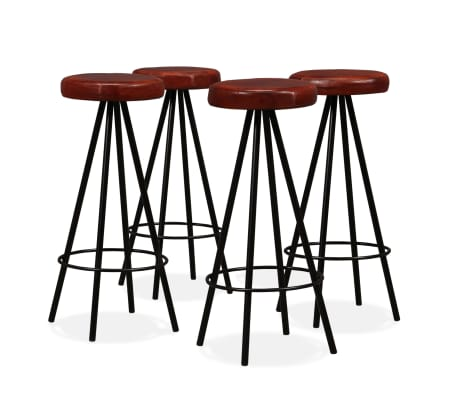 vidaXL Set muebles de bar 5 pzas madera maciza reciclada cuero genuino[9/16]