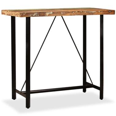 vidaXL Set muebles de bar 5 pzas madera maciza reciclada cuero genuino[2/16]