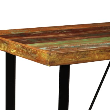 vidaXL Set muebles de bar 5 pzas madera maciza reciclada cuero genuino[4/16]