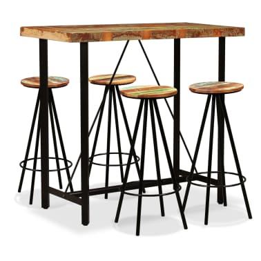 vidaXL Set de muebles de bar 5 piezas madera maciza reciclada[1/16]