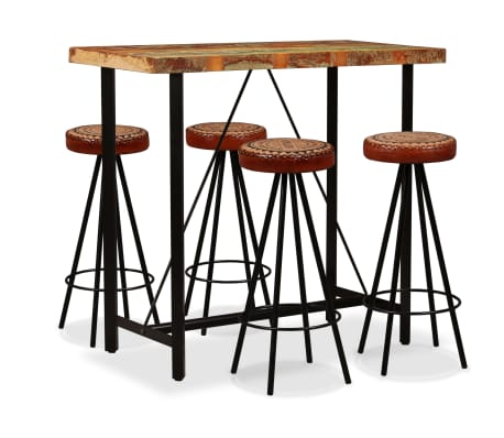vidaXL Bar Set 5 Pieces Solid Reclaimed Wood, Genuine Leather & Canvas[1/15]