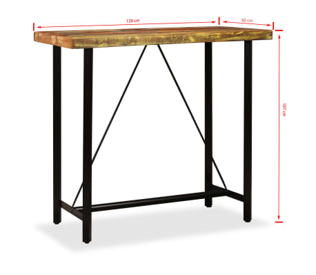 vidaXL Bar Set 5 Pieces Solid Reclaimed Wood, Genuine Leather & Canvas[14/15]