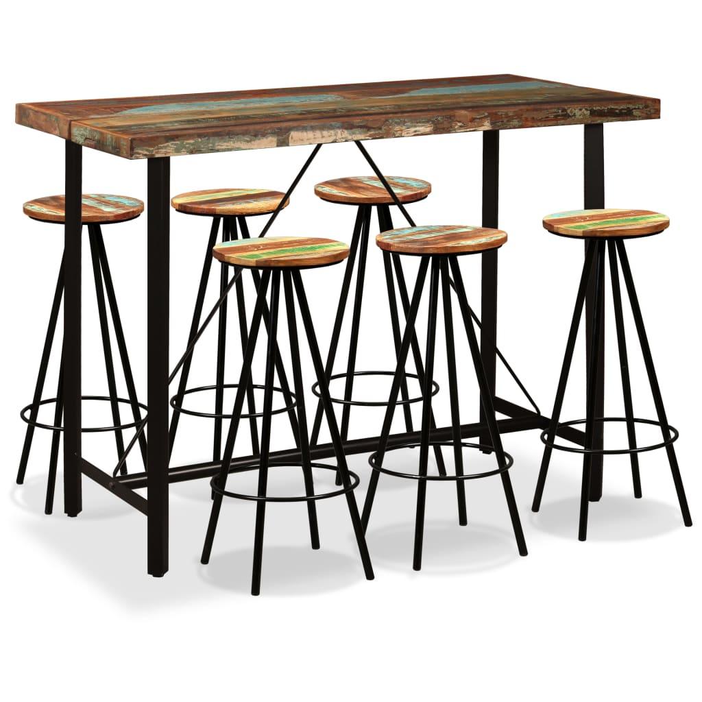 Imagen de vidaXL Set de muebles de bar 7 piezas madera reciclada