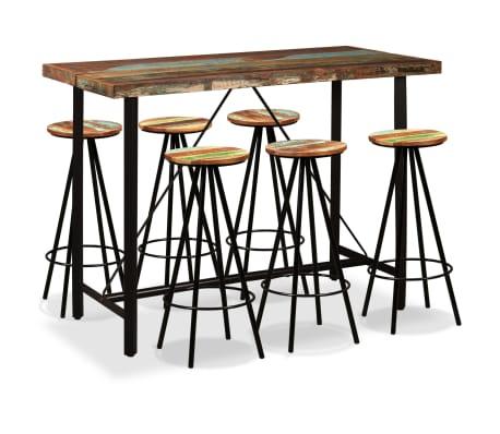 vidaXL Bar Set 7 Pieces Solid Reclaimed Wood[1/15]
