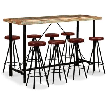 vidaXL 9-dielna barová súprava, masívne recyklované drevo a pravá koža[1/15]